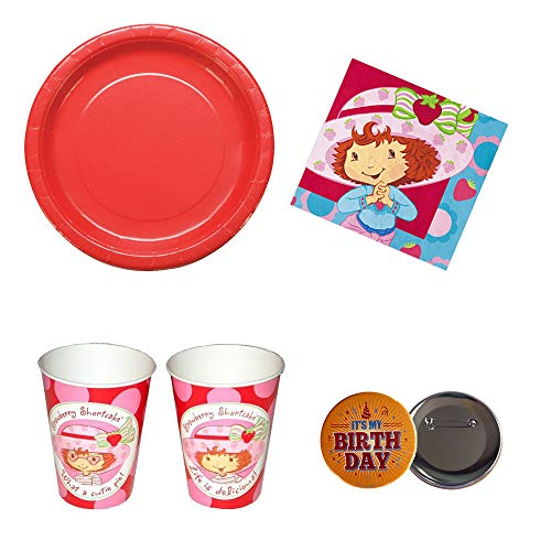 RDC Strawberry Shortcake Birthday Party Supplies 16 Guests - Plates, Napkins, Cups, Button ()