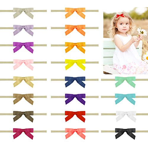 20 Packs Headband Nylon Baby Headbands for Girls 3 Inch Hair Bows Hair Accessories for Toddlers Infant