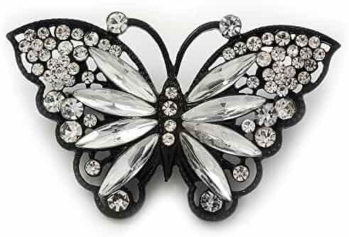 36a012828c2 Avalaya Sparkling Diamante 'Butterfly' Brooch in Gun Metal - 5.5cm Length