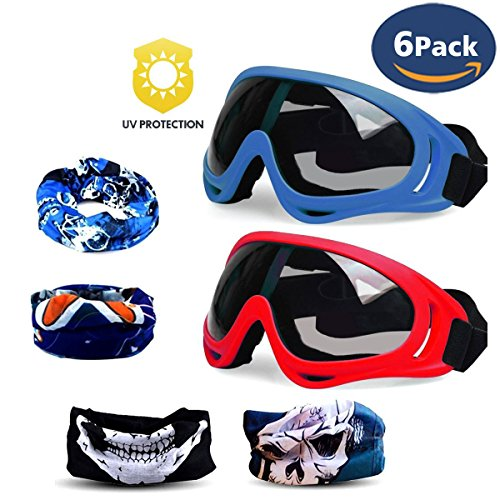 CloverTale Gun Blaster Face Mask, Tactical Protective Goggles Glasses and Face Tube Mask for Nerf Guns N-Strike Elite Series, With 4 Pack Face Mask and 2 Pack Protective Glasses (Blue and Red)
