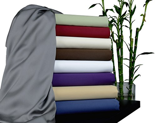 Brielle 100-Percent Rayon Bamboo Sheet Set, Queen, Titanium