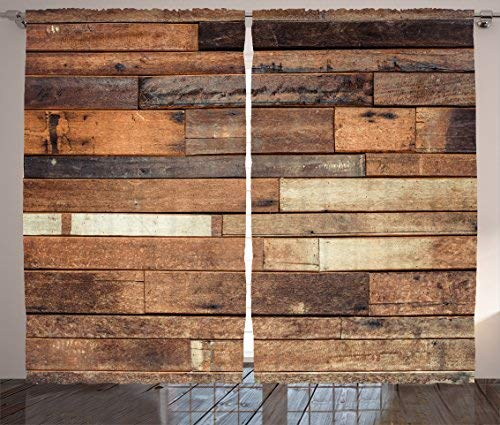 Red Vow Wooden Curtains 2 Panel Set, Rustic Floor Planks Print Grungy Look Farm House Country Style Walnut Oak Grain Image, Curtain for Bedroom Living Room, 80