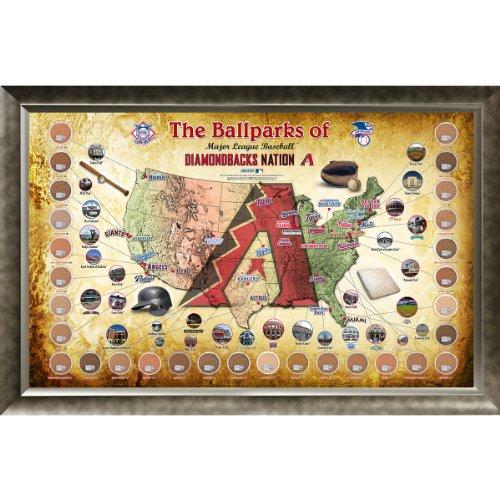 Steiner Sports MLB Arizona Diamondbacks Major League Baseball Parks Map 20x32 Framed Collage with Game Used Dirt from 30 Parks (Arizona Diamondbacks Framed Wall)