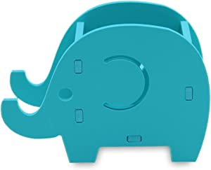 Cell Phone Stand Elephant Pencil Holder Cute Wood Pen Holder Bracket Home Decoration Stationery Organizer with Desk Accessories(Blue)
