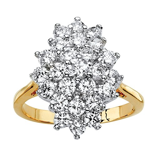 Palm Beach Jewelry Round White Cubic Zirconia 14k Gold-Plated Marquise-Shaped Cluster Cocktail Ring Size 8