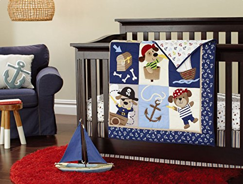 NAUGHTYBOSS Baby Bedding Set Cotton 3D Embroidery Pirates Of the Caribbean Quilt Bumper Bedskirt Fitted 7 Pieces Blue by NAUGHTYBOSS (Image #3)