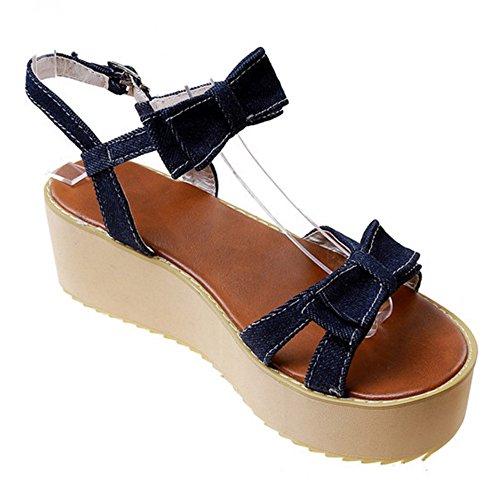 Plateforme Femmes Les Taoffen À Confortables Foncé Plate Sandales Bleu XCgBqC