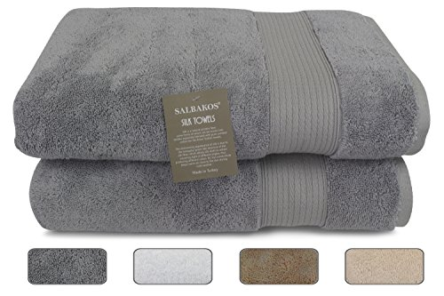 "Salbakos Fine Italian Silk and Combed Turkish Cotton Bath Towels, Incredibly Soft, Eco-friendly 30""x60"", 625gsm (Set of 2, Gray)"
