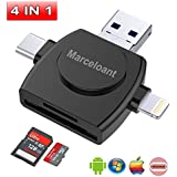 Micro SD Card Reader 4-in-1,Marceloant TF Memory Card Camera Reader Adapter for iPhone/iPad/Android/Mac/PC/MacBook pro. With Lightning/Micro USB/Type C/USB 3.0 Connector (Black)