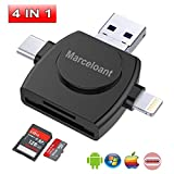 USB Flash Drives for iPhone iPad IOS Android 32GB Memory Stick,Marceloant 4 in 1 SD TF Memory Card Readers for Camera Reader Adapter, With Lightning/Micro USB/Type C/USB 3.0 Connector