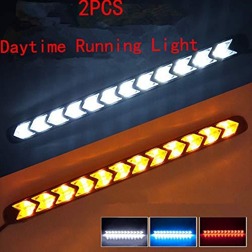 LanLan 2pz 9 LED Luce Diurna Freccia Faro Anteriore Indicatori di Direzione per Auto Doppio Colore Luce Freccia Auto Impermeabile Super Luminosa Gialla Luce Rosso