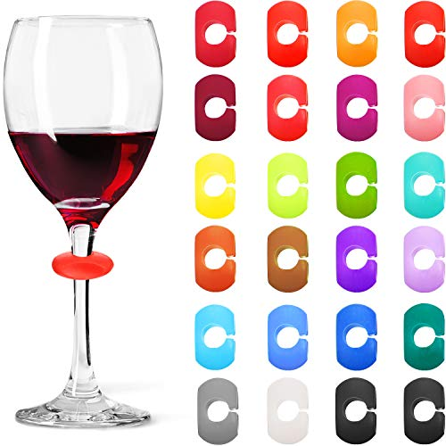 - 24 Pieces Colorful Silicone Drink Markers for Wine Glass Champagne Flutes Cocktails, Martinis