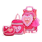 Meetbelify Rolling Backpack for Girls with Pencil Case&Lunch Bag School Bags Trolley Wheeled Backpacks,Rose Red