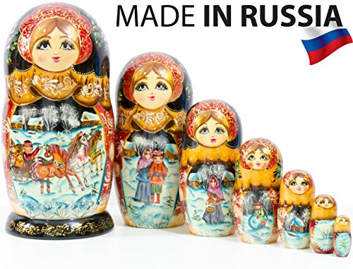 Nesting Doll - Russian Village - Hand Painted in Russia - Big Size - Wooden Decoration Gift Doll - Matryoshka Babushka (Design A, 8.25``(7 Dolls in 1)) by craftsfromrussia (Image #6)