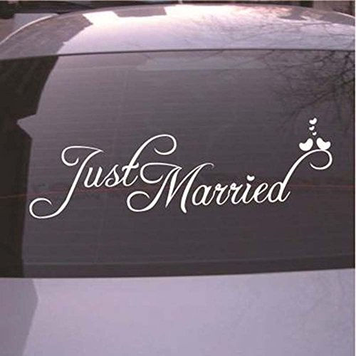 (Just Married Wall Decal Vinyl Window Sticker Church Decal Art Home Decor)