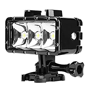 D&F Underwater Flash Diving Light 40M Waterproof with 3 LED Dimmable Flashlight Built-in 1200mAh Rechargeable Battery for GoPro Hero 5/4/3+/3, SJCAM,SJ4000 SJ5000 Yi & Other Action Camera