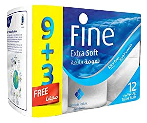 Fine Extra Soft Toilet Tissue Rolls - Pack of 12 Rolls, 200 Sheets x 2 Ply