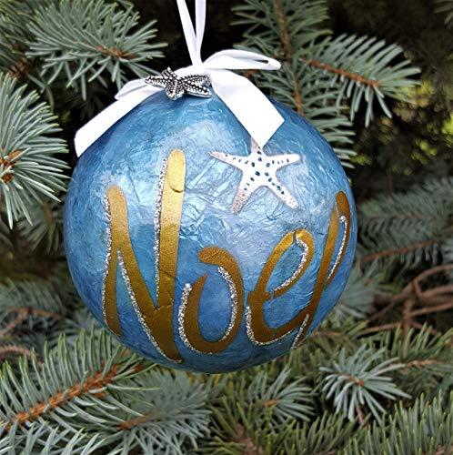 Coastal Christmas Ornament, Beach Christmas Ornament, Blue Capiz Ball w Noel and Starfish Accents ()