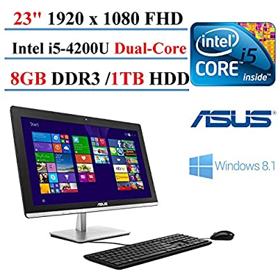 "2017 ASUS ET2321IUTH-07 23"" All-in-One Desktop AIO Intel i5-4200U 1.6GHz 8GB RAM 1TB HDD 1920x1080 Screen Full HD LED-back light Windows 8 (Certified Refurbished)"
