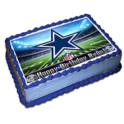Dallas Cowboys NFL Personalized Cake Topper Icing Sugar Paper 8.5 x 11.5 Inches Sheet Edible Frosting Photo Birthday Cake Topper (Best Quality Printing) -
