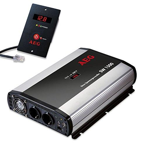 AEG 97122 Sinus-Spannungswandler SW 1500 Watt, 12 Volt auf 230 Volt, mit LCD-Display, USB Ladebuchse, Fernsteuerungsmodul und Batteriewächterfunktion