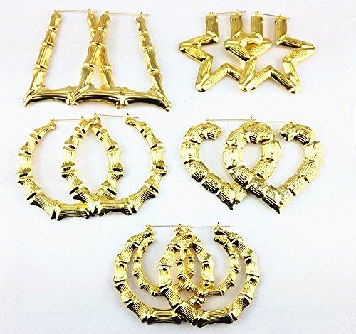 Honbay 5 Pairs Different Shape Bamboo Hoop Earrings - Hoop Gold Earrings