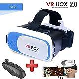 Black Virtual Reality Headset VR BOX 2.0 with black remote (3D glasses) (Blue)