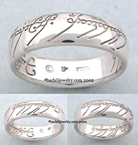 Sterling Silver The One Ring TM with Plain Script-Lord of the Rings Gollum Ring Jewelry