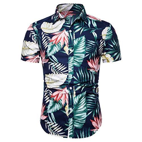 CHENYIHHY Hawaiian Shirt Men Summer Linen Short Sleeve Basic Shirt Blouse Men Fit Slim Printed Top Floral Shirt Chemise Homme