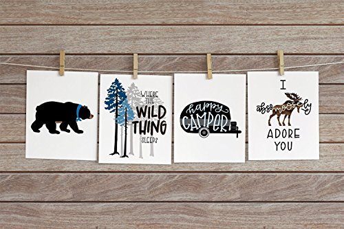 Set of 4 Woodland Animal Nursery Cardstock Prints - 8.5 x11'' Where The Wild Thing Sleeps, Black Bear, Happy Camper, Absomoosely Adore You by June & Lucy