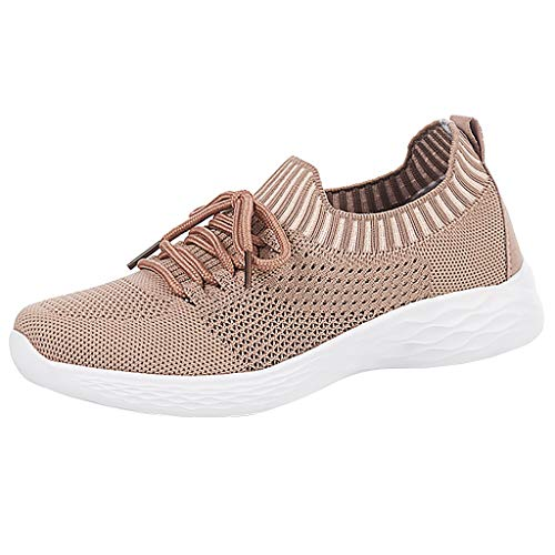 SUNyongsh Women Fashion Sneakers Breathable Comfort Sock Shoes Youth Big Girls Gym Workout Trail Sport Running Shoes Pink