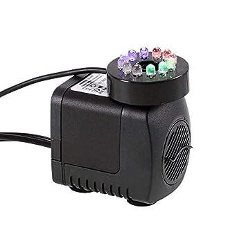 IRISH Bomba de agua sumergible con luz de 12 LED para la fuente de interior,