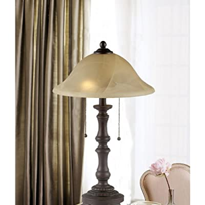 Home Source Industries LMP10832 Traditional Table Lamp with Alabaster Glass Shade, 21-Inch Tall, Deep Brown