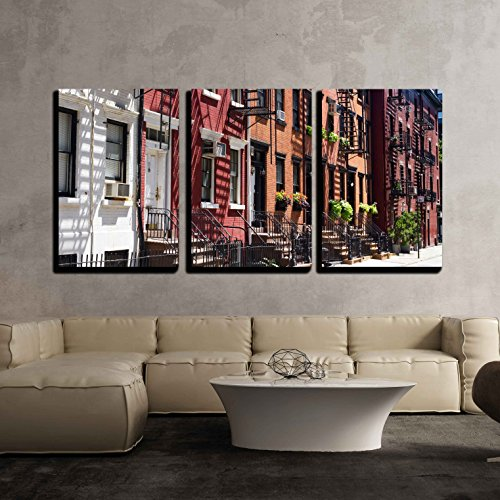 Vintage Door Poster (wall26 - 3 Piece Canvas Wall Art - Houses on Gay Street, Greenwich Village New York City - Modern Home Decor Stretched and Framed Ready to Hang - 24