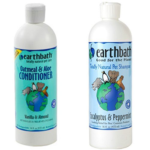 Earthbath Eucalyptus and Peppermint Shampoo for Dogs and Cats, 16 Oz Oatmeal and Aloe Conditioner for Dogs and Cats, 16 oz ()