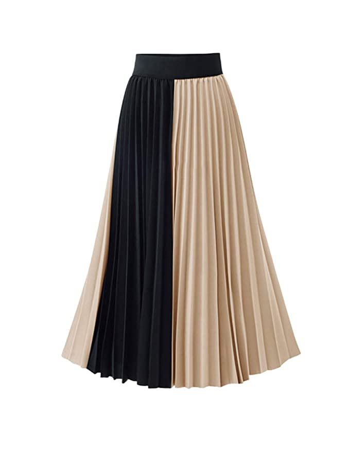 Fuzeely Women's Elegant High Elastic Waist Pleated A Line Two Colours Splicing Chiffon Swing Long Skirt by Fuzeely
