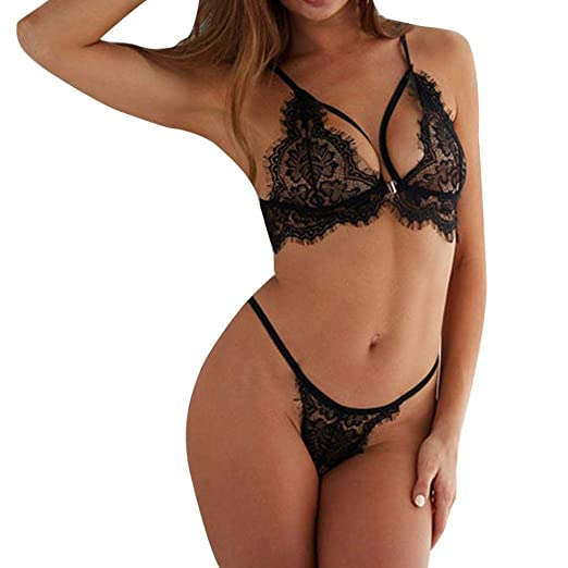 4ea4be87e Amazon.com  Sumen Women s Sexy Lingerie Set Lace Cups Bralette Hollow Out  Temptation Nightwear  Clothing