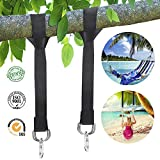 BonFook Tree Swing Strap Kits- Holds 4400lbs, 2 Packs 5ft Adjustable Tree Swing Straps with Heavy Duty Stainless Carabiners and Carry Bag (Black)