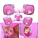 WowowMeow Cat Kitty Rabbit Collapsible Play Cube Tent and Tunnel (3 cube+2 tunnel)
