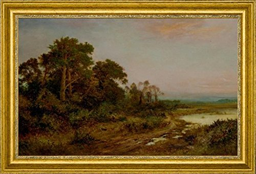 a-wooded-landscape-with-a-lake-by-daniel-sherrin-15-x-22-framed-premium-canvas-print
