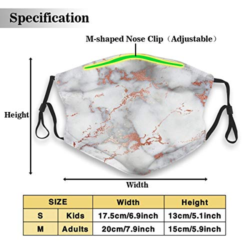 Dustproof Masks,Activated Carbon Dust Mask with PM2.5 Filter,Anti Dust Mouth Maks,Rose Gold Marble White Breathable Safety Respirator Face Mask Reusable Washable Facial Mask for Kids Adults- S