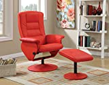 Acme Furniture 59364 2 Piece Arche Recliner Chair & Ottoman, Red