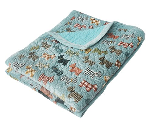 J-pinno Cute Cartoon Puppy Reversible Bedding Coverlet Quilt Bedspread Throw Blanket for Kid's Boy Girl Bed Gift, Soft Short Plush Velvet + Washed Cotton (Toddler 47