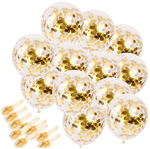 SINKSONS 20 Pieces Gold Confetti Balloons, 12 Inches Party Balloons With Golden Paper Confetti Dots For Party Decorations Wedding Decorations And Proposal -