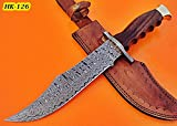 Cheap REG-HK-126 Handmade Damascus Steel 13.7 inches Hunting Knife – Perfect Grip Rose Wood Handle with Damascus Steel Guard and Brass Pommel