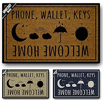 MWCOKF Funny Door Mat Non-Slip Back Rubber Entry Way Doormat Outside | Phone Wallet Keys Welcome Home | Standard Outdoor Welcome Mat | Patio Office Home Indoor |Non-Woven Fabric 18 Inch x 30 Inch