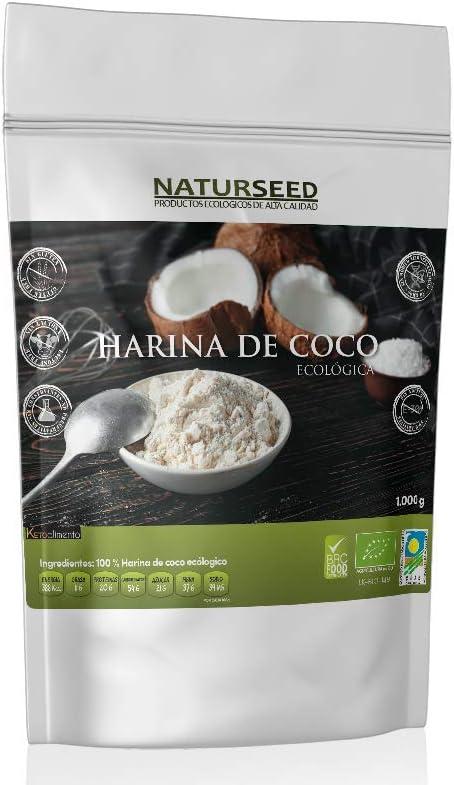 NATURSEED - Harina De Coco Ecologica Bio - Organica - Sin Refinar - Sin Blanquear - Sin Gluten (1 KG): Amazon.es: Alimentación y bebidas