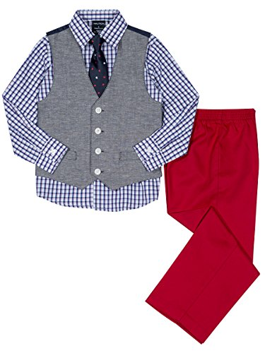 Nautica Toddler Boys' Set with Vest, Pant, Shirt, and Tie, Peacoat Denim, 3T