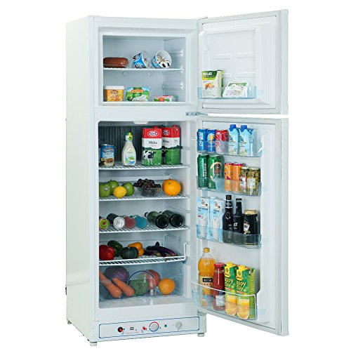 SMETA 110V/Gas Propane Refrigerator Fridge Up Freezer,9.4 cu ft,White