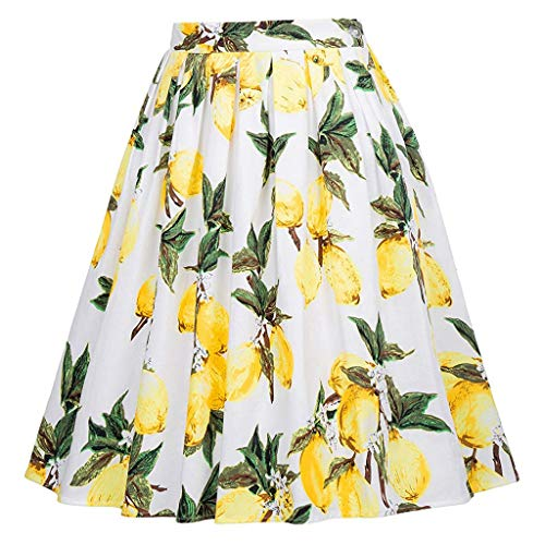 (Women's Skirts,Vintage A-line Floral Printed Pleated High Waist Midi Skirts(Multi-Colored) (White, XXL))